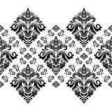 Classic seamless vector pattern. Damask orient black and white horizontal ornament. Classic vintage background. Orient ornament for fabric, wallpaper and packaging - 231019402