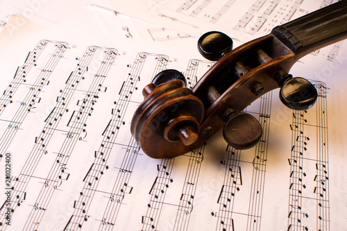old violin on the lied notes - 231022400