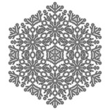 Round vector snowflake. Abstract winter ornament. Black and white snowflake - 231027224