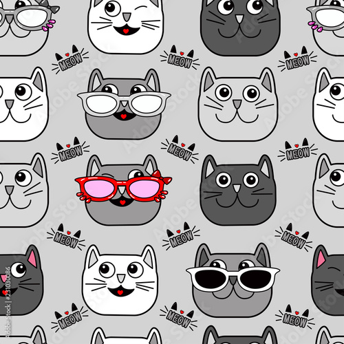 fototapeta na ścianę Abstract seamless cat pattern for girls, boys, clothes. Creative vector background with cat, glasses, eyes, mustache.Funny wallpaper for textile and fabric. Fashion cat style. Colorful bright.