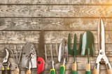 Row of gardening tools on soil background - 231035288