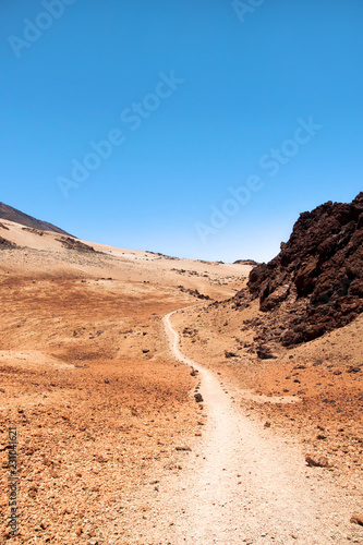 Leinwandbild Motiv Trail in the Montana Blanca, at the foot of the Teide volcano, Tenerife, Canary Islands, Spain