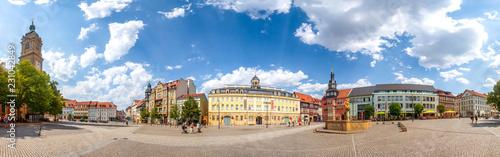 Leinwanddruck Bild Eisenach, Marktplatz, Panorama mit Georgenkirche