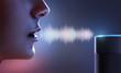 Leinwanddruck Bild - Frau spricht zu Sprachassistent