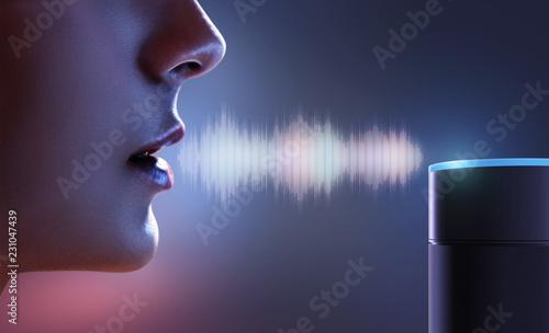 Leinwandbild Motiv Frau spricht zu Sprachassistent