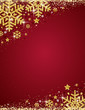 Red christmas background with frame of gold glittering snowflakes, vector illustration