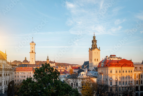 Lviv cityscape view on the old town with town hall and churches during the sunset in Ukraine