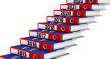 Folders stacked in the form of steps, labeled the years 2015-2021. Office folders stacked in the form of steps. 2015-2021 years. Isolated. 3D Illustration - 231060414