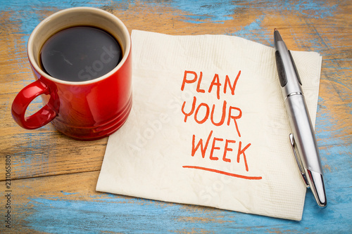 Plan your week - napkin note