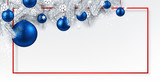 Christmas and New Year banner with fir branches and Christmas balls. - 231075467