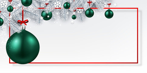 Christmas and New Year banner with fir branches and green Christmas balls. © Vjom
