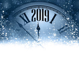 Blue 2019 New Year background with clock. Greeting card. - 231077290