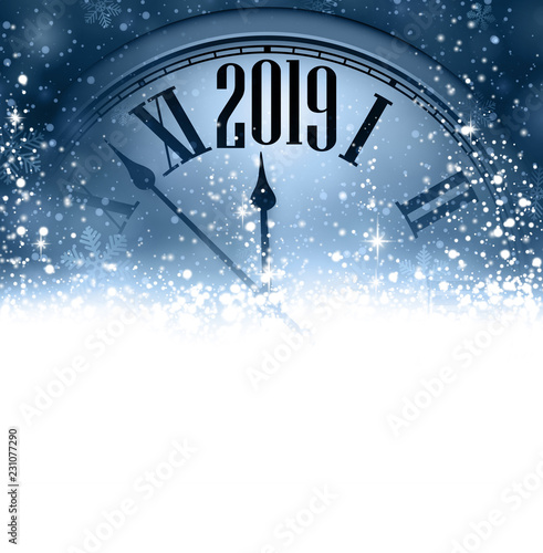 Blue 2019 New Year background with clock. Greeting card.