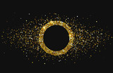 Black shiny festive background with golden round frame and confetti. - 231078665