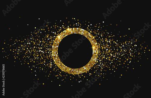 Czarny błyszczący świąteczny tło z złotą round ramą i confetti.