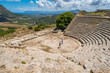 The theater in Segesta, ancient greek town in Sicily, southern Italy.