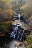 Corra Linn waterfall on the River Clyde near New Lanark, Scotland, UK.