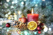 Leinwanddruck Bild - Adventskerze rot - erster Advent - 1.Advent