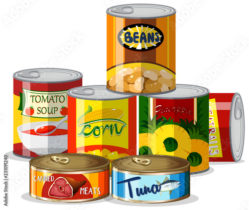 Poster Set of canned food
