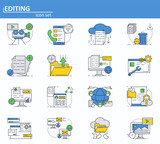Vector set of computer services icons in thin line style. Messages, email, cloud storage. Website UI and mobile web app icon. Outline design illustration. - 231095254