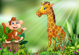 Cartoon of the nature scene with a monkey sitting on tree stump and giraffe - 231098874