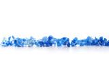 Row of Soft blue Hydrangea (Hydrangea macrophylla) or Hortensia flower isolated on white.