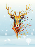 Deer head lowpolygon geometric pattern vector eps10 on winter background for merry christmas card poster flyer - 231111420