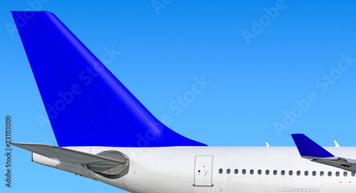 Modern passenger jet aircraft side tail silhouette with aircraft