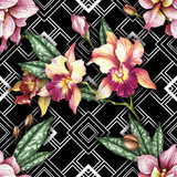 Seamless pattern with watercolor orchid flowers on abstract white black geometric background. - 231117660