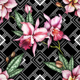 Seamless pattern with watercolor orchid flowers on abstract white black geometric background. - 231117666