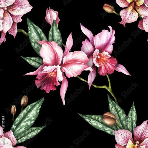 Bezszwowy wzór z storczykowymi kwiatami. Ilustracja akwarela.