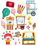 a carnival vector set with many carnival items and object - 231120295