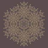 Round golden snowflake. Abstract winter ornament. Fine snowflake - 231121256