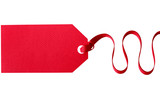 Red gift tag with ribbon isolated on white - 231121887