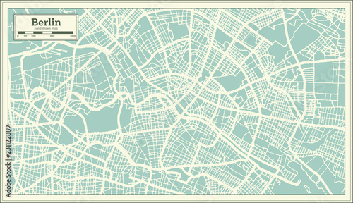 Berlin Germany City Map in Retro Style. Outline Map.