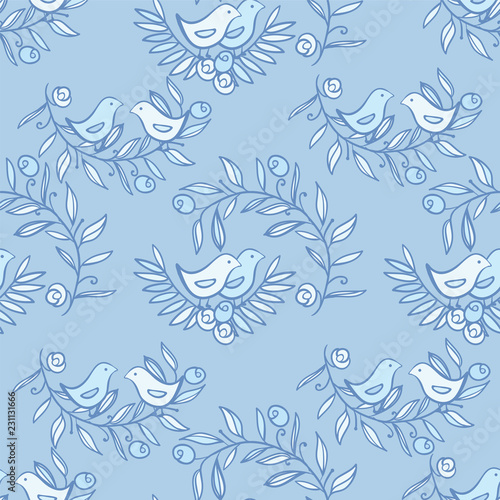 Vintage Floral Seamless Background with Birds - 231131666