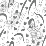 Vector floral seamless pattern with hand drawn scilla or snowdrop flowers and fern leaves. Modern decorative background in pastel colors.