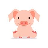 Cute pig. vector illustration.