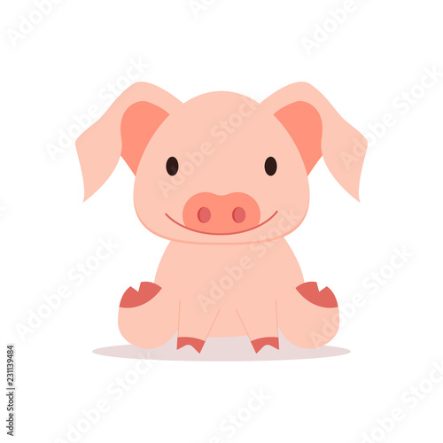 Cute pig. vector illustration.