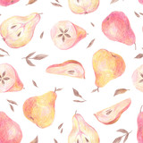 Seamless pattern. Pear, leaves and seeds painted with colored pencils isolated on a white background. Food repeated illustration. Fruit endless design for fabric, wrap paper or wallpaper. - 231149602