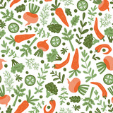 Seamless pattern with hand drawn colorful doodle vegetables. Vegetarian meal. Vegetable repeated vector background. Healthy restaurant  menu. - 231150201