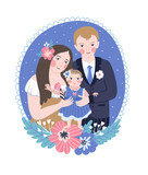 Vector illustration for the international family day or wedding invitation. Happy parents and their baby. - 231150231
