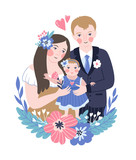 Vector illustration for the international family day or wedding invitation. Happy parents and their baby. - 231150252