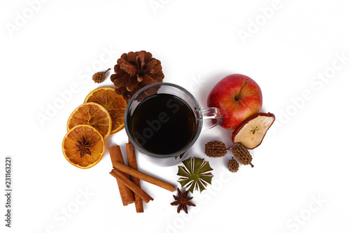tea for christmas or mulled wine - isolated on white background - 231163221
