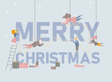 Merry Christmas poster with people and festive decoration. - 231164857