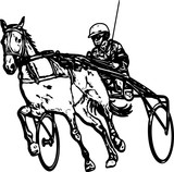 Trotter in harness drawing - vector - 231168886