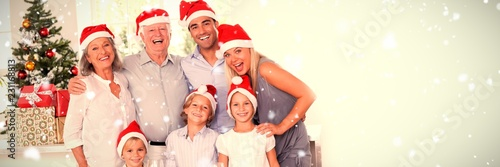 Composite image of family posing for photo - 231168813
