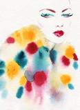 beautiful woman. fashion illustration. watercolor painting - 231173223