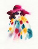 beautiful woman. fashion illustration. watercolor painting - 231173249