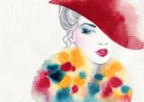 beautiful woman. fashion illustration. watercolor painting - 231173402